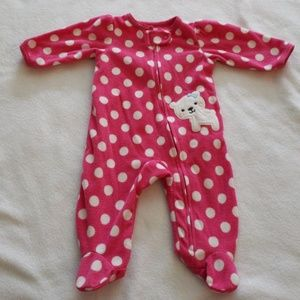 Cute Pink Polka-dot Footie Pajama with Bear